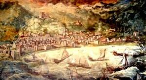 Salerno, cripta della cattedrale, abside destra. Affresco raffigurante l'assedio alla città del 1544